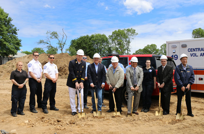 Mayor Allan M. Dorman (third from left), Village of Islandia, is joined by dignitaries, local elected officials and first responders for the groundbreaking of the First Responders Recreational Ball Field on June 7. Also pictured (l-r): Michael Zaleski, Deputy Mayor, Village of Islandia and Chief, Central Islip Fire Department; Brian Hansberry, President, Gaming Division, Delaware North; Harry Singh, President/CEO, Bolla Market; Salvatore Vitale, Senior Property Manager, Breslin Realty; and Thomas Muratore, Suffolk County Legislator.