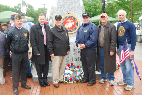 Mayor Allan M. Dorman (third from left) is joined by local elected officials and war veterans John Mauro, CCP, VFW Post #9486 in Lake Ronkonkoma; Lee Zeldin, NYS Senator; Al Graf, NYS Assemblyman; John Kennedy, Suffolk County Legislator; and Bill Ferris, Islandia resident and Swift Boat veteran.
