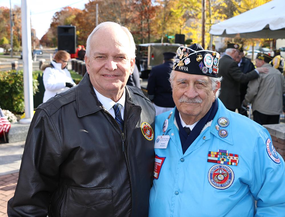 Allan M. Dorman (left), Mayor, Village of Islandia, poses with Sal Scarlato (right), President, Korean War Veterans Association, Central Long Island Chapter, at the village's Veterans Day ceremony on November 10.