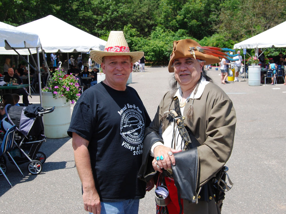 """Islandia Village Mayor Allan Dorman (left) and local resident Lou Vitoro (right), a/k/a """"Lawrence Red Hawk"""" at the 4th annual Summer Bar-B-Que."""