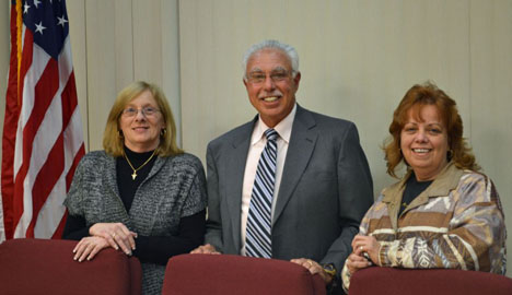 Pictured (left to right): Islandia Village Trustee Patricia Peters, Village Justice Alan Wolinsky and Village Trustee Barbara Lacey.