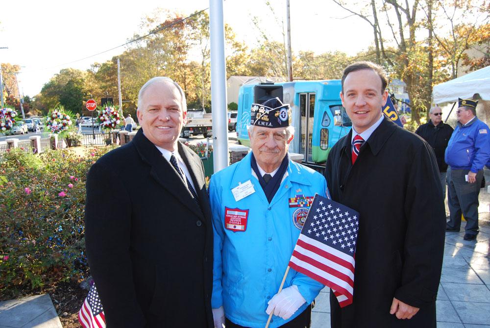 Mayor Allan M. Dorman (left) poses with Sal Scarlato (center), President, Korean War Veterans Association, Central Long Island Chapter, and Tom Croci (right) Islip Town Supervisor-Elect.